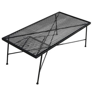 Russell Woodard Wrought Iron & Mesh Low Coffee Table For Sale