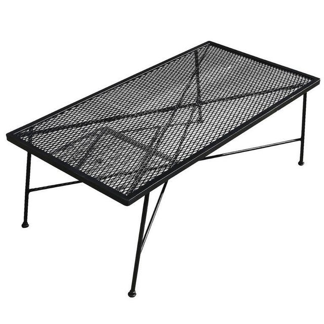 Russell Woodard Wrought Iron & Mesh Low Coffee Table - Image 1 of 5