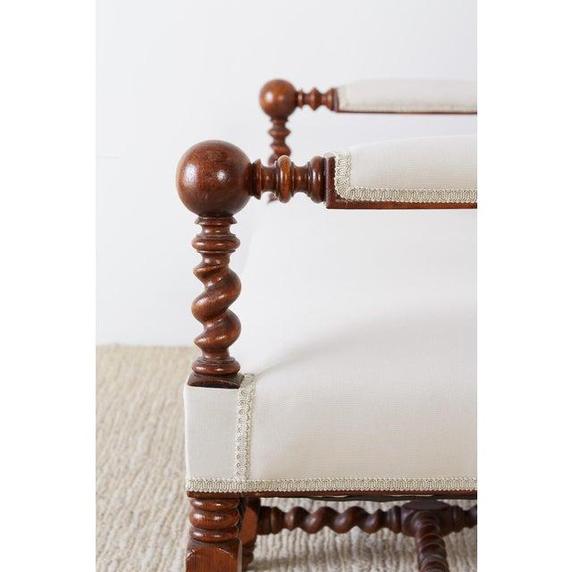 Fabric 19th Century English Barley Twist Sofa Settee For Sale - Image 7 of 13