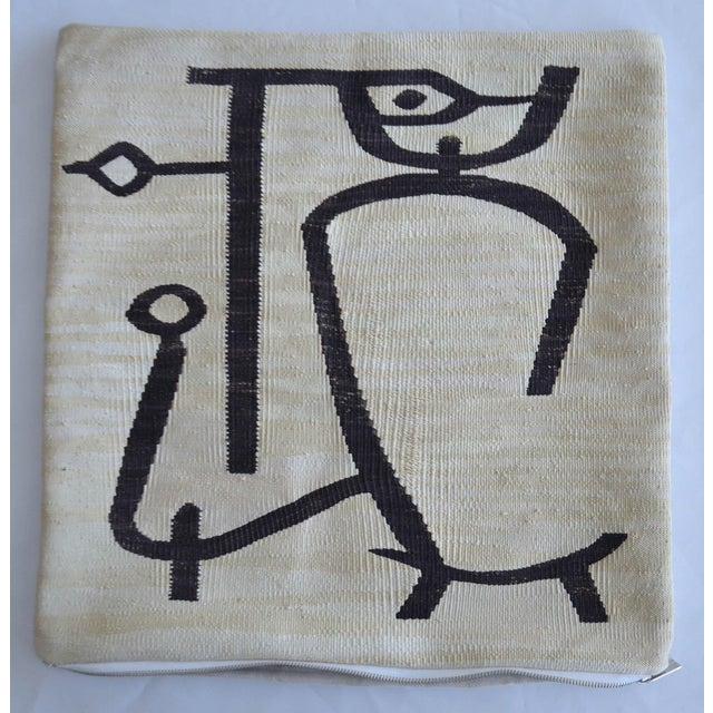 2010s Paul Klee - Lady Apart (Dame Abseits) - Inspired Silk Hand Woven Pillow Cover - 18″ X 19″ For Sale - Image 5 of 11