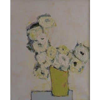 """Bill Tansey """"White Floral"""" Abstract Floral Oil on Canvas Painting For Sale"""