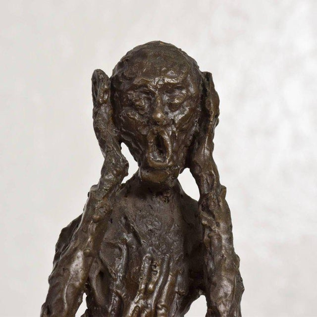"For your consideration a bronze table sculpture ""The Scream"" by Edvard Munch. Sculpture in unsigned, maker or foundry..."