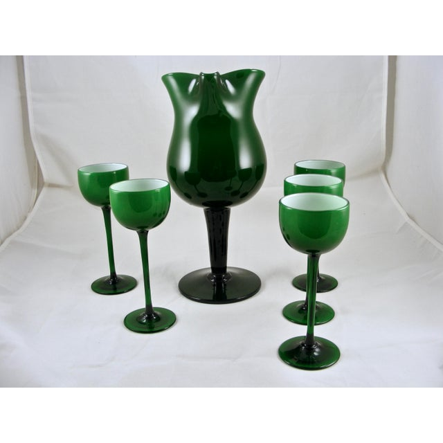 Carlo Moretti Carlo Moretti Mid Century Green and White Cased Pedestal Pitcher and 5 Wine Glasses For Sale - Image 4 of 9