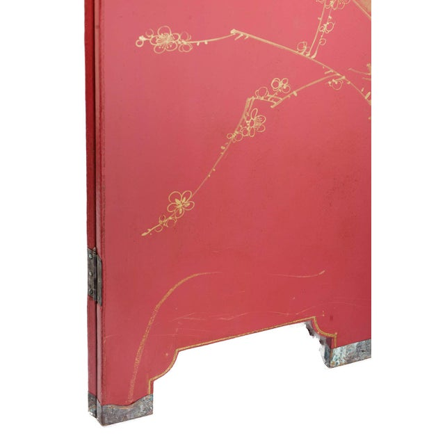 Double-Sided Leather Burgundy Red Wisteria Scene Room Divider Screen by Lawrence & Scott For Sale - Image 11 of 13