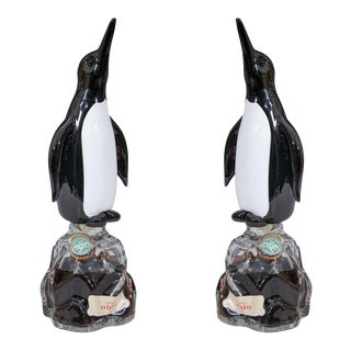 1940s Seguso Penguin Murano Glass Liquor Bottles - a Pair For Sale