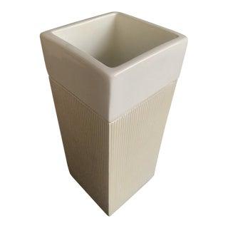 1970s Raymor Bitossi Sgraffito Minimalist Off White Glazed Vase For Sale