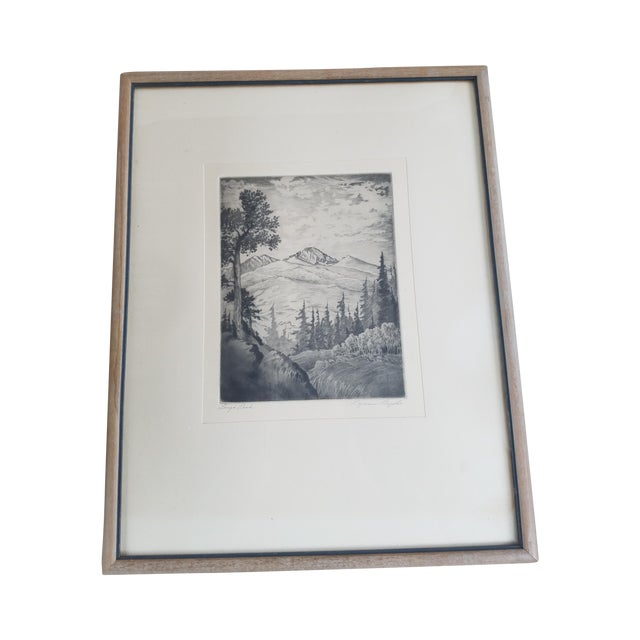 Long's Peak Etching by Lyman Byxbe - Image 1 of 6