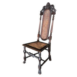 Victorian Wicker Seat Carved Oak Gothic Revival Side Throne Chair For Sale