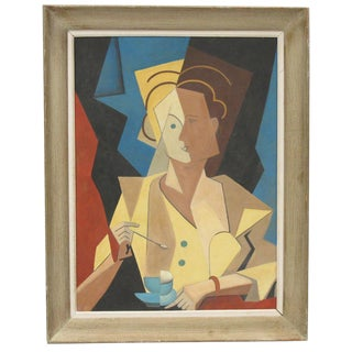Woman With Cup of Coffee Cubist Gouache on Board Painting For Sale