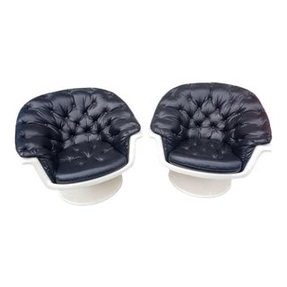 Vintage Saarinen Style Fiberglass Atomic Age Tufted Leather Swivel Shell Chairs - Pair For Sale