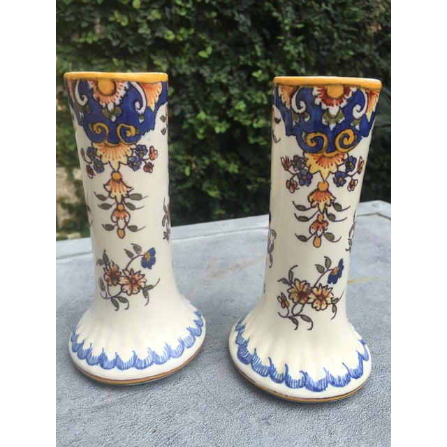 Rouen Antique French Faience Rouen Vases - A Pair For Sale - Image 4 of 4