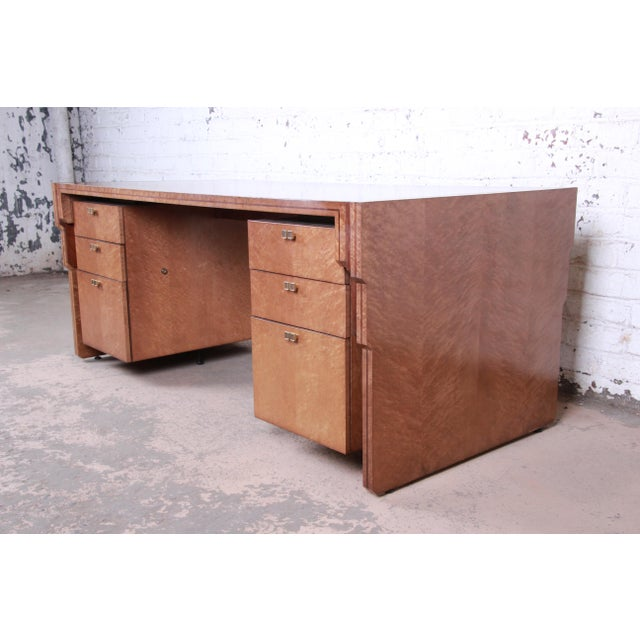Art Deco Pierre Paulin for Baker Furniture Bird's-Eye Maple and Walnut Inlay Art Deco Executive Desk For Sale - Image 3 of 13