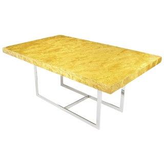 Milo Baughman Mapa Burl Wood & Chrome Dining Table For Sale
