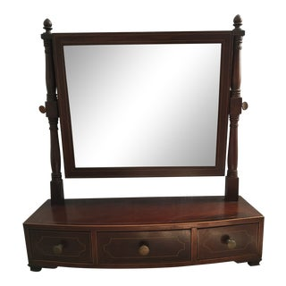 1800-1810 Antique Federal Mahogany Bow Front Dressing Glass For Sale