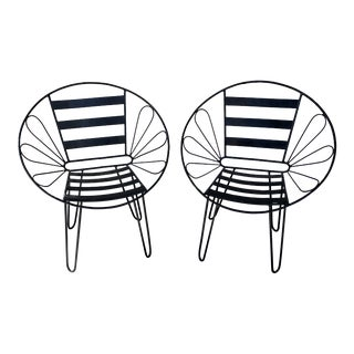 Mid-Century Outdoor Iron Hoop Chairs-a Pair For Sale