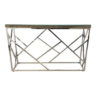Industrial Modern Reclaimed Teak Wood and Stainless Steel Console Table For Sale