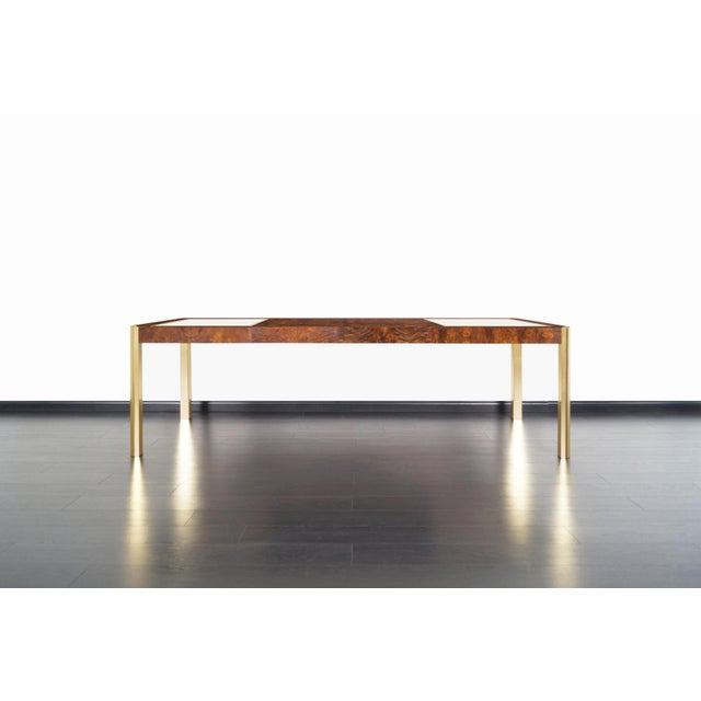 Vintage Burl Wood and Brass Dining Table by Century Furniture For Sale - Image 9 of 13