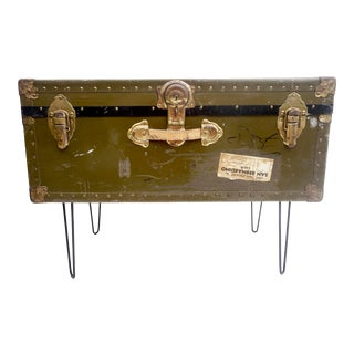 Vintage Military Steamer Trunk | Coffee Table | Hairpin Legs | Army Green Industrial Chic Record Storage/Bench/Ottoman For Sale