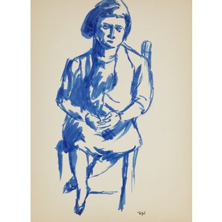 Seated Figure in Blue Ink For Sale
