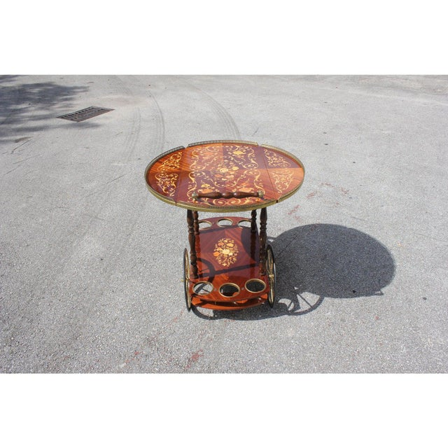 1950s French Marquetry Drop Leaf Bar Cart For Sale - Image 9 of 13