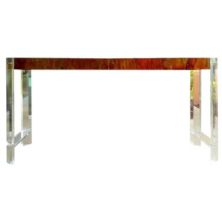 Paul Evans Style Lucite and Copper Console Table