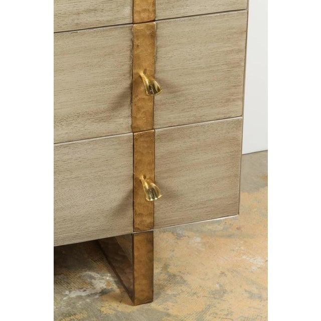 Paul Marra Three-Drawer Banded Chest in Bleached Oak and Inset Iron Band For Sale In Los Angeles - Image 6 of 7