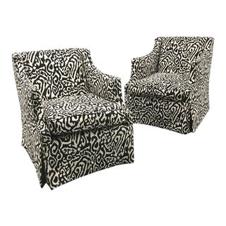Contemporary Black and Ivory Upholstered Club Chairs — a Pair For Sale