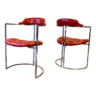 Mid Century Modern Tufted Chrome Side Chairs, a Pair For Sale