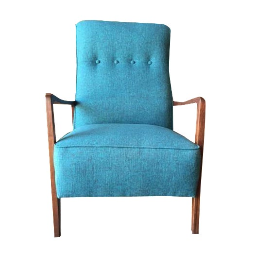 Mid-Century Sculpted Reupholstered Chair - Image 1 of 6