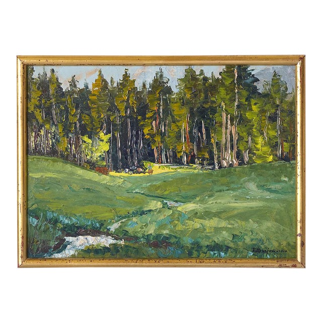 Vintage French Impressionist Forest Oil Listed Artist Berjonneau For Sale