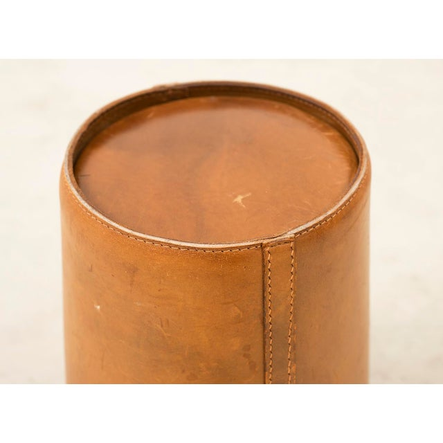 Leather Danish Wastebasket, 1960s For Sale - Image 4 of 11