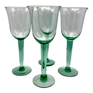 Vintage Natural Silica Colored Handblown Wine Glasses - Set of 4