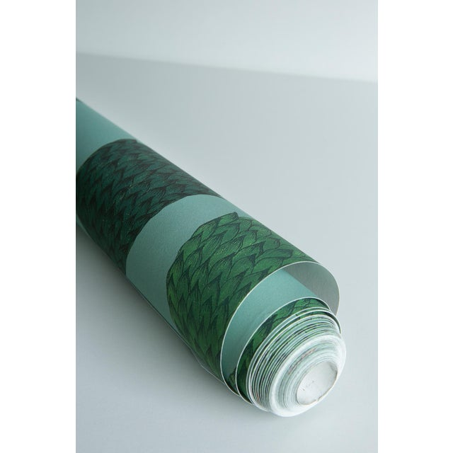Paper Tranquility Wallpaper in Asparagus Green, Sample For Sale - Image 7 of 7
