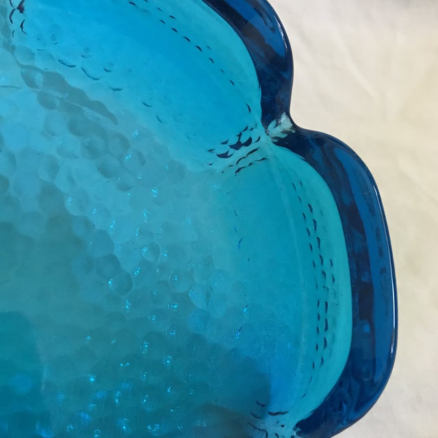 Aqua Blue Pebbled Art Glass Flower Ashtray For Sale - Image 9 of 11