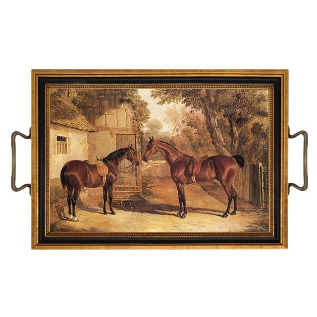 Contemporary Saddled Horses Tray For Sale