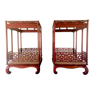 Red Carved Wood Canopy Daybeds - a Pair For Sale