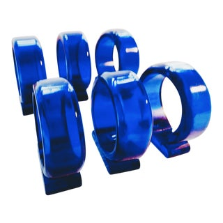 Mid-Century Cobalt Lucite Napkin Rings - Set of 6 For Sale