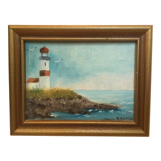 Miniature Hand Painted Lighthouse by Gloria Killeen For Sale