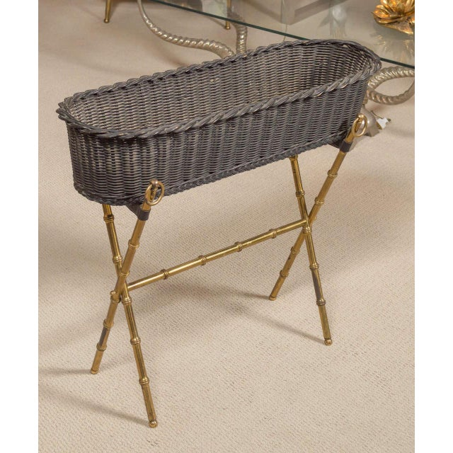 1960s Jacques Adnet Wicker Planter With Gilt Brass Bamboo Base For Sale - Image 5 of 7
