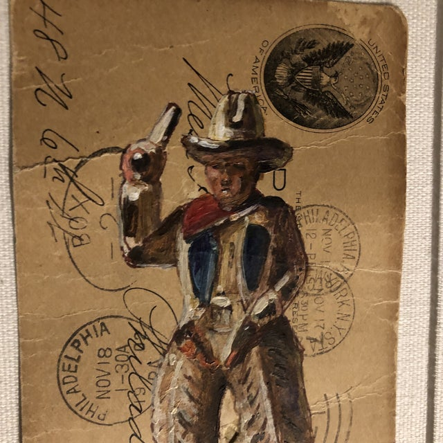 Original painting illustration painted on 1800's postcard signed bottom middle 3 x 5.5 laid down on mat board ready to...