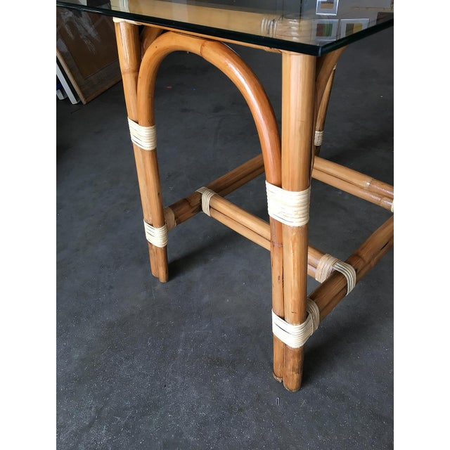 """1950s Restored """"Swoop Arch"""" Rattan Side Table With Glass Top For Sale - Image 5 of 6"""