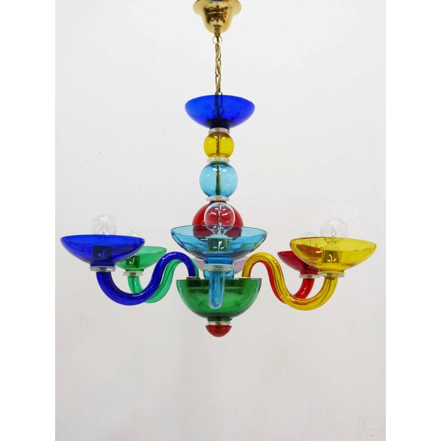 Post modern multi colored glass murano chandelier chairish a post modern multi colored murano hand blown glass chandelier in the manner of aloadofball Images