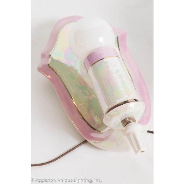 Restored Vintage Pink Iridescent Porcelain Bathroom Sconces - a Pair For Sale - Image 9 of 12