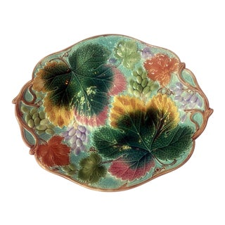 Wedgwood Grape Leaf Majolica Platter For Sale