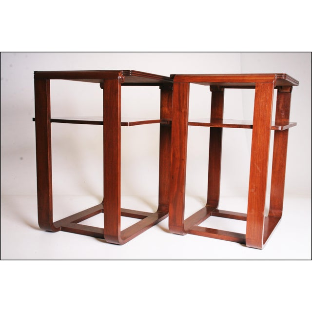 Vintage Art Deco Two Tier Wood Side Tables - A Pair - Image 6 of 11