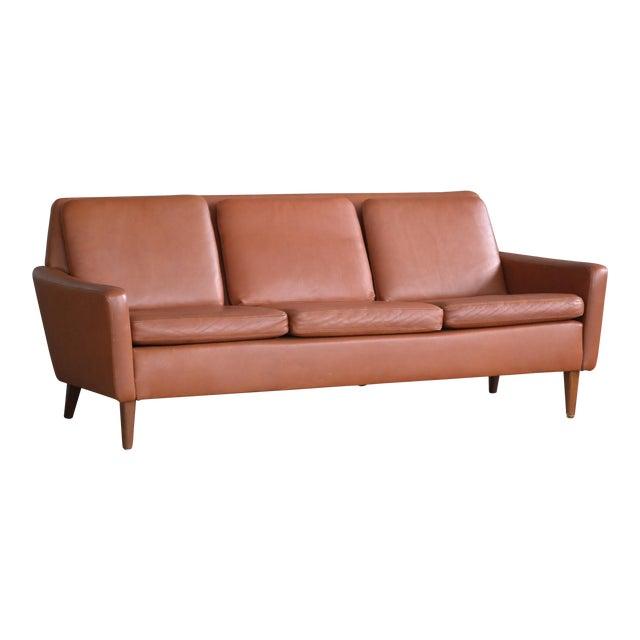 Danish Mid-Century Sofa In Cognac Leather - Image 1 of 10