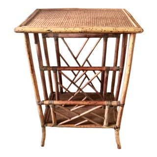 Vintage Burnt Bamboo Side Table With Magazine Rack For Sale
