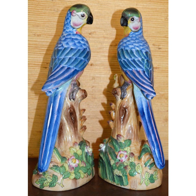 Vintage Chinese Blue Majolica Parrot Figurines - a Pair For Sale - Image 12 of 15