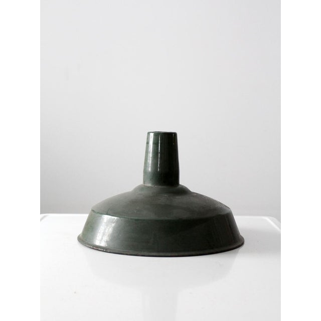 Industrial Green Enamel Pendant Lamp Shade For Sale - Image 4 of 6