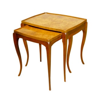 Burlwood Nesting Tables by Baker - Pair